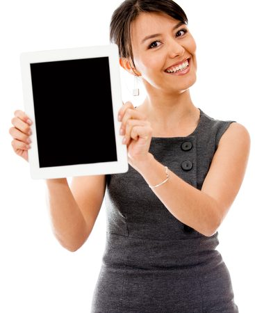Woman Presenting Tablet at Weston Homes for Sale Open House